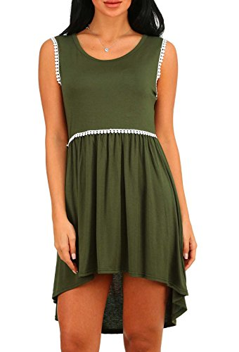Loose Dress Casual Sleeveless Women Asymmetrical T Round Green Neck Blansdi Shirt qE6PUwzx6