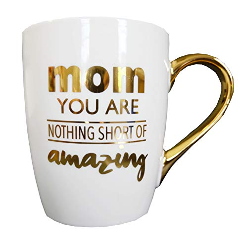 Mothers Day Gifts for Mom Nothing Short of Amazing for World's Best Awesome Moms Ever Gift Ideas Large Ceramic Gold Handle Coffee Mug Tea Cup for Mother's Day Christmas Birthday by Mon Trésor Decor