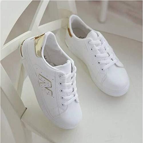 ZHZNVX Zapatos de Mujer PU (Poliuretano) Primavera/Verano Comfort Sneakers Flat Heel Cerrado Dedo del pie Oro/Púrpura / Azul Claro Gold
