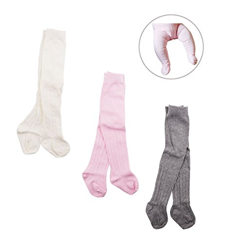 Baby Girls Boys Toddler Cable Knit Knee High Leggings Pants Tights Panties Stockings Socks(Pack of 3 pairs) (Style 2, 6-12 Months)