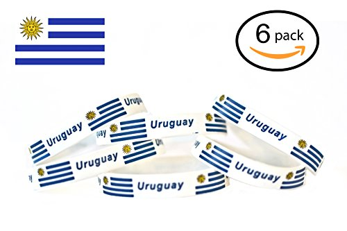 SillyKool RUSSIA FIFA WORLD CUP 2018 Soccer, Flag Silicone Bracelets | 6-Piece Set | 12 COUNTRIES AVAILABLE | Unisex Design, soft and Durable, Non-Toxic, Hypoallergenic (Uruguay)