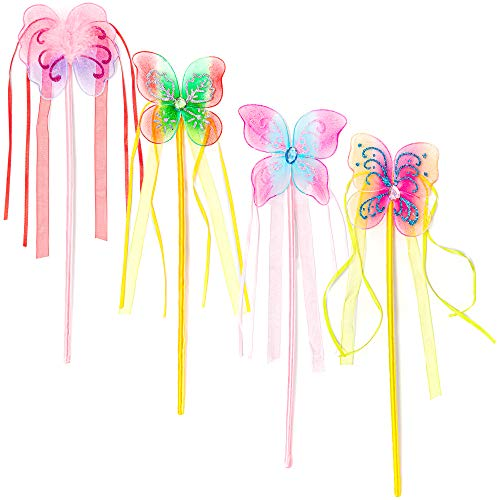 - 12 Pack Princess Wands - Fairy Butterfly Magic Wands for Dress Up & Pretend Play, Multicolor