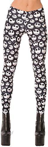 QZUnique Women's Black and White Skull Print Ankle Length Elastic Legg