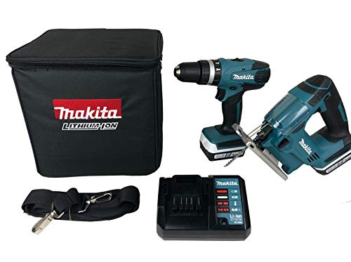Makita DK14009X1 Kombi-Bohrschrauber 14,4 V HP347D, JV143D und Stichsä gen-Set, 18 V
