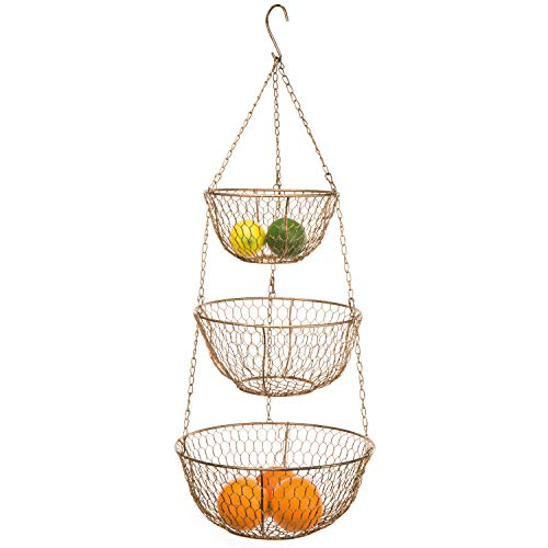 MyGift Gold-Tone Metal 3-Tier Chain Hanging Chicken Wire Kitchen Storage Baskets (Hanging Baskets Copper)