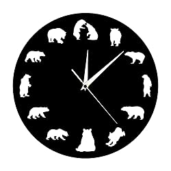 xushihanjjli Wall Clocks Bear Grizzly American Forest Mountain Animal Nursery Bears with Different Poses Minimalist Design Living Room Bedroom Kitchen Office Hotel Gift