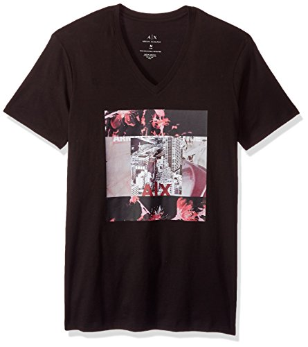 A|X Armani Exchange Men's Flower Block Printed V Neck Tee, Black, - Armani Men