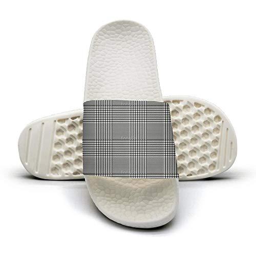 WZLAN Plaid Printing Houndstooth Black 3D Printed Mens Non-Slip Sandals Beach Flip-Flops Slide Sandals