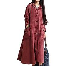 Women Elegant Casual Long Sleeve Button V Neck Loose Hoodie Cotton Linen Maxi Dress