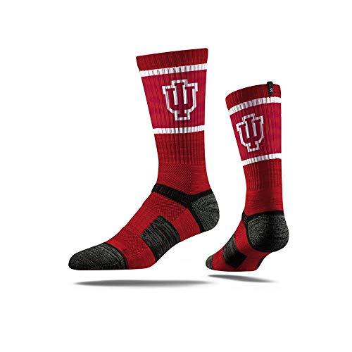 Strideline NCAA Indiana Hoosiers Premium Athletic Crew Socks, One Size, Crimson