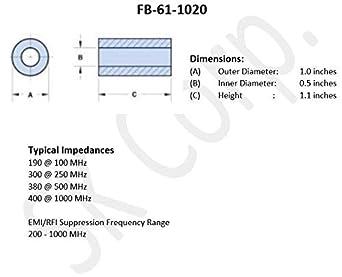 Details about  /FB-31-1020 Ferrite Bead 31 Material 1//2 inch Inner Diameter