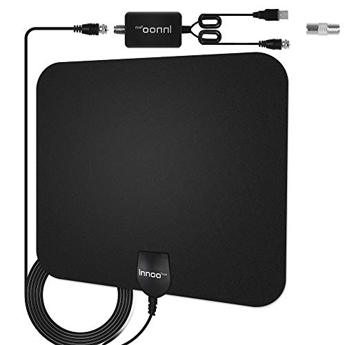 TV Antenna - HDTV Antenna Support 4K 1080P, New Version Up to 130 Miles Range Digital Antenna for HDTV, VHF UHF Freeview Channels Antenna with Amplifier Signal Booster, 16.5 Ft Longer Coaxial Cable