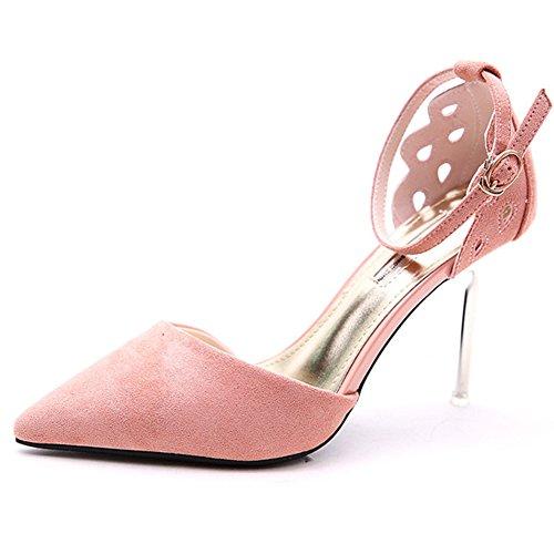 Estilo Tacón Pink Poco Zapatos Del Profundo Fine De Zapato Otoño Talón Romano Alto Sunny Primavera 4351 Boca Sra Y anxwqUg6FI