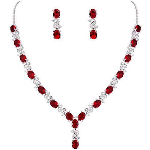 [EleQueen Women's Silver-tone Cubic Zirconia Oval Shape Leaf Bridal Necklace Earrings Set Ruby Color] (Necklaces And Earrings)