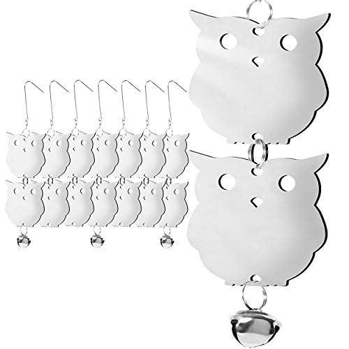 - HOMESCAPE CREATIONS Stainless Steel Bird Repellent Reflective Scare Discs - Hanging Owl Decor Deterrent Control Device for Woodpeckers and Pigeons / 16 Piece Set / 4 Bells