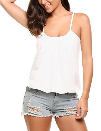 Zeagoo Women's Long Spaghetti Strap Tank Top Camis Basic Camisole Cotton Plus Size White,XXL