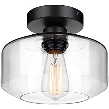 Stone /& Beam Vintage Sturdy Steel Frame Glass Shade Flush-Mount with Bulb Antique Bronze 12.05H