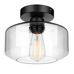 Farmhouse Ceiling Light Fixtures Industrial Semi Flush Mount Ceiling Light, Clear Glass Pendant Lamp Shade, Farmhouse Lighting for Porch Hallway Kitchen… farmhouse ceiling light fixtures