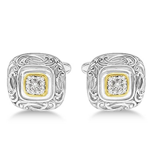 0.25ct. Square Engraved Diamond Cuff Links For Men 14k Yellow Gold and Sterling Silver Vintage - Diamond Engraved Cufflinks
