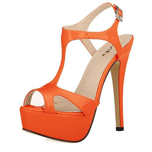 ZriEy Women's Ladies Peep Toe High Heels T-Strap Enjoyable Platform Sandals Orange size 7.5 /39 M (Orange Platforms Heels)
