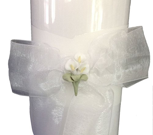 (White Unity Candle with Calla Lily Flower Stack Candle 11
