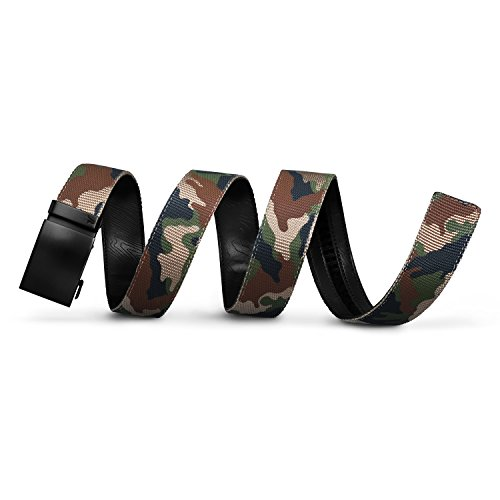 Mission Belt Men's Ratchet Belt - Commando - Swat Black Buckle/Camo Nylon Strap, Custom (up to 56) ()