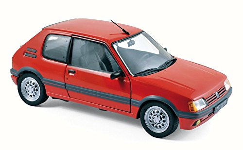 Norev 1988 Peugeot 205 GTI 1.6 Coupe, Vellelunga Red 184853 - 1/18 Scale Diecast Model Toy Car