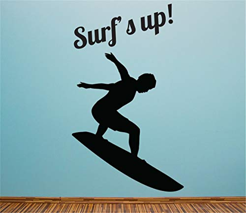 deuigd Wall Decal Sticker Art Mural Home Decor Quote Sport Surf's Up for Boys Room Living Room Bedroom