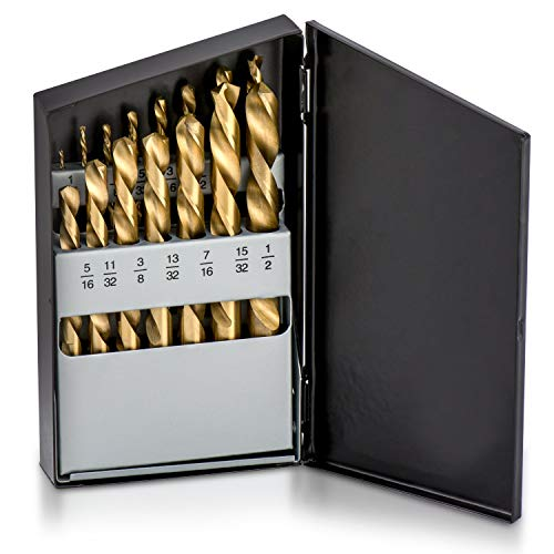 Neiko 10037A Left Hand Drill Bit Set, 15 Piece | M2 HSS With Titanium Nitride Coating...