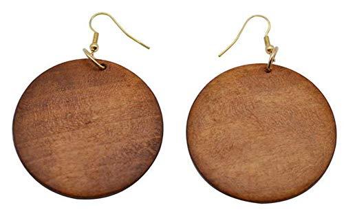 StylesILove Womens Girls Wooden Teardrop Shaped Wood Dangle Earrings (Brown-Round) - Floral Earrings Round