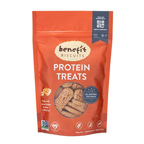 Benefit Biscuits Peanut Butter Dog Biscuits - Healthy Protein Dog Snacks ()