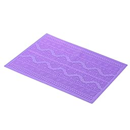 Z-Color Flower Pattern Silicone Mat Sugar Cake Kitchen Lace Embossed Mold Mould (Purple)