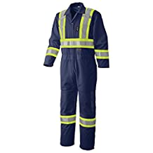 Pioneer V1070180-M High Visibility Traffic Safety Coverall, Blue M