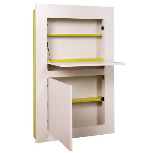 Phönix 806203GRW Workstation Milano in weiß mit grün,  81 x 128,5 x 20 cm, mit einer Klappe, Türe und Kabeldurchführung innen