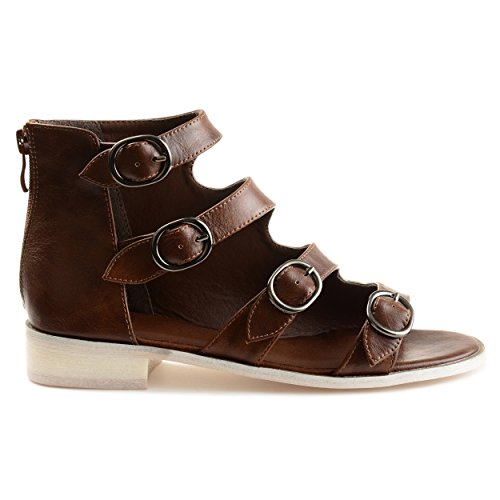 Brinley Co. Womens Odell Faux Leather High-top Distressed Side Buckle Sandals Brown, 8 Regular ()