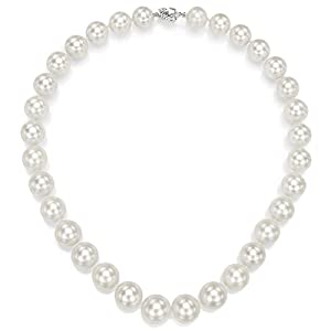 14k White Gold 13-15mm White Freshwater Cultured High Luster Pearl Double-sided Clasp Necklace, 18