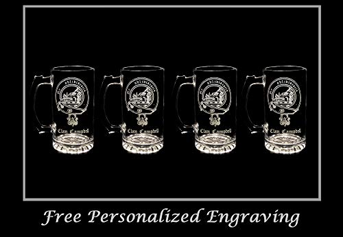 History Stein Beer (Campbell Scottish Clan Crest 16oz Beer Stein Set of 4: Free Shipping & Personalized Engraving)