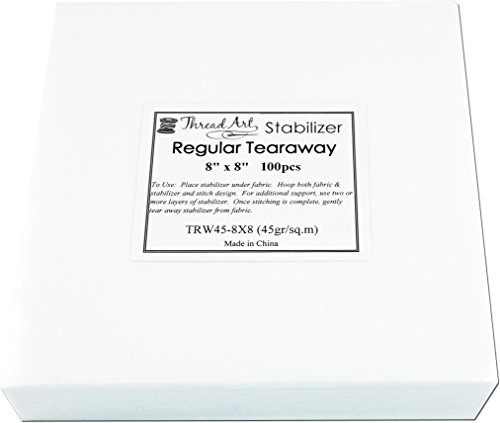 Buy Bargain Threadart Regular Weight Tearaway Embroidery Stabilizer - 8x8 100 Precut Sheets - Cutawa...