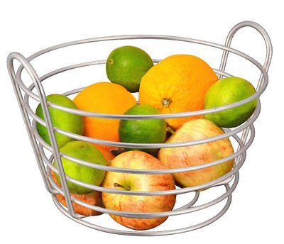 Perfect Design Satin Nickel Fruit Basket Keep Fruit & Bananas Neat And Close At Hand