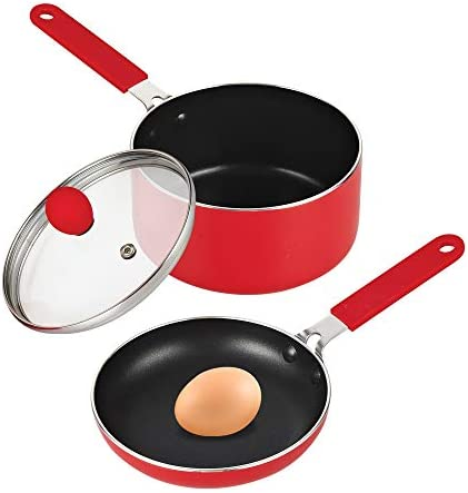 Cook N Home Nonstick 5.5 Mini Size One Egg Fry Pan and Sauce Pan 1-QT with Lid Set, Red