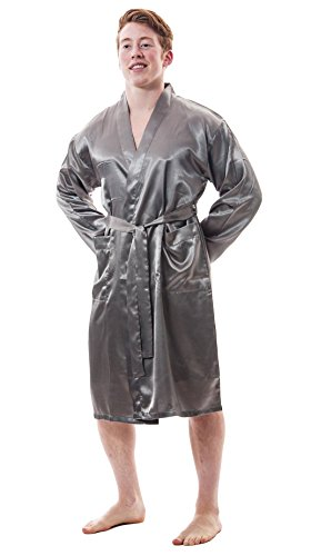 Up2date Fashion Men's Satin Robes with Front Pockets, Style-Gwn51 (XL, Metallic ()
