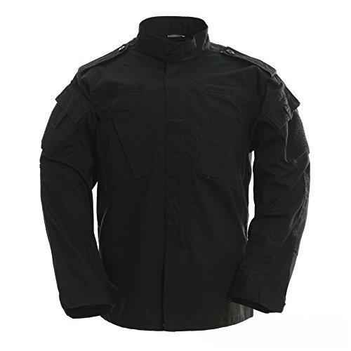 TACVASEN Outdoor Black Military Tactical Combat Uniform Shirt Army Airsoft BDU Top Jacket Coat Blouse XXL