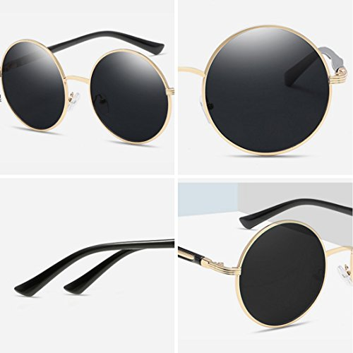 Marco metal de retro sol Dorado Gafas vintage montura Gafas de mujer con de Película redonda Yefree Verde Z5q4vwxRv