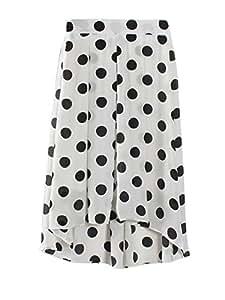 Dot Asymmetric Hem Chiffon Womens Maxi Skirt White 7633467J0L2252105AJ Size M