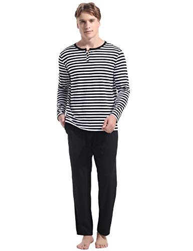 (Abollria Henley Top Polar Cotton Pants Men's 2 Piece Pajama)