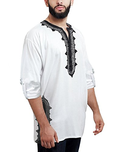 Daupanzees Men Tunic Caftan Shirt Breathable Fiber Cotton Handmade Tribal Long Sleeve Unisex Moroccan Embroidery T-Shirt Morocco Ethnic Tops Tee (White M) by Daupanzees (Image #1)