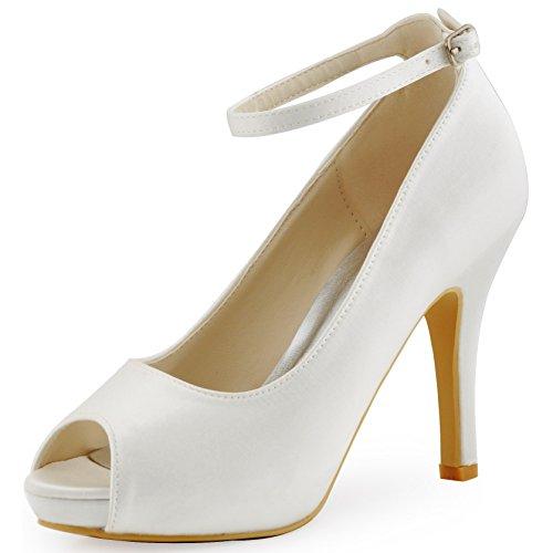 ElegantPark HP1543I Mujer Tacón De Aguja Plataforma Peep Toe Correa De Tobillo Satén Zapatos De Boda Blanco
