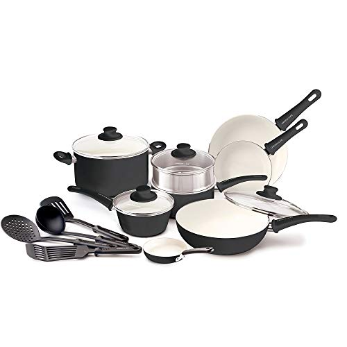 GreenLife Soft Grip 16pc Ceramic Non-Stick Cookware Set, Black (Renewed)