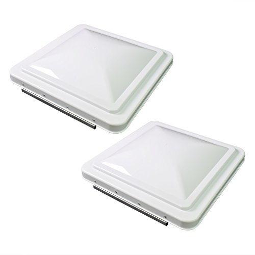 (Leisure Coachworks 2 Packs 14 Inch RV Roof Vent Cover Universal Replacement Vent Lid White for Camper Trailer Motorhome (White 2-Pack))
