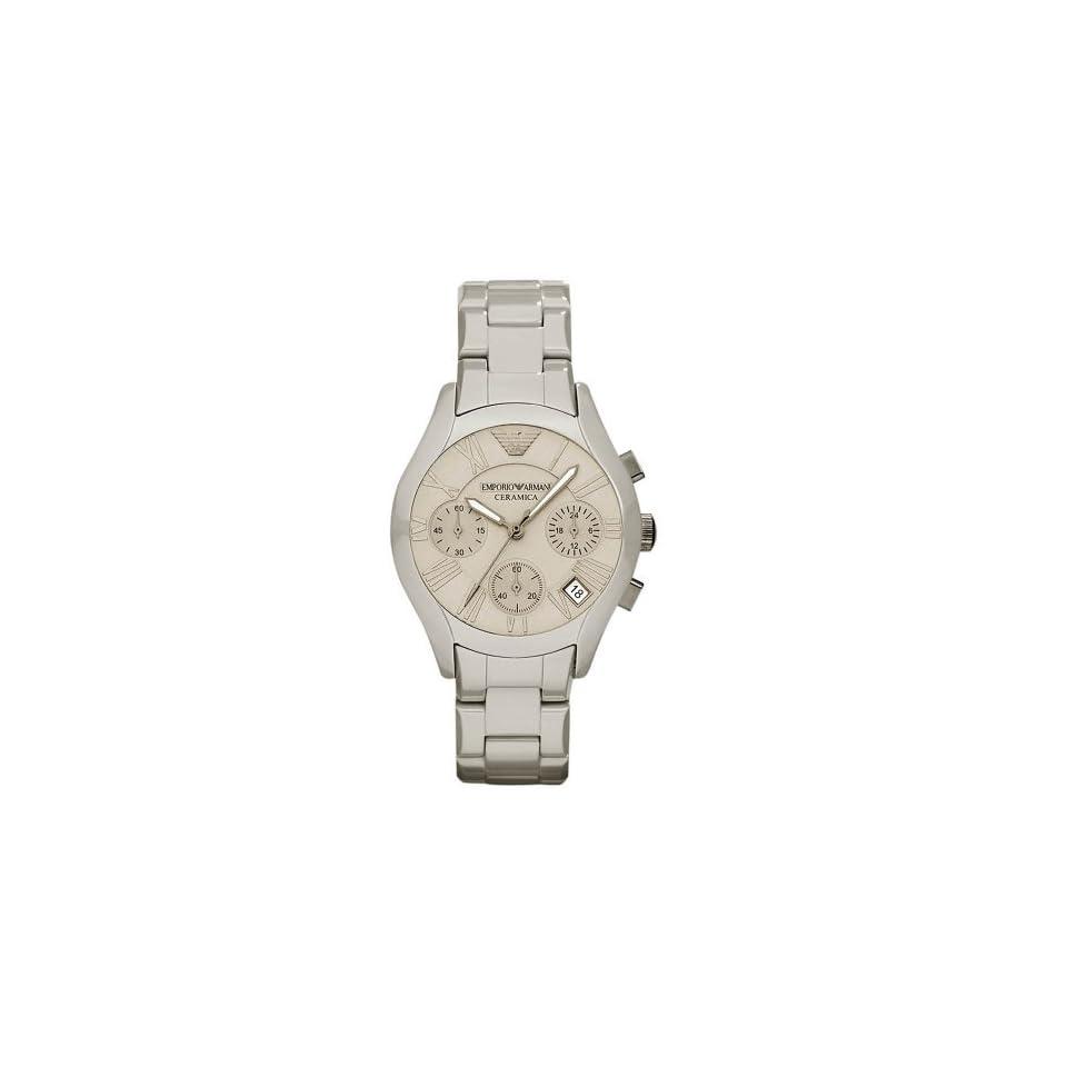 Emporio Armani AR1460 Mens Grey Ceramic Bracelet Matte Dial Chronograph Watch